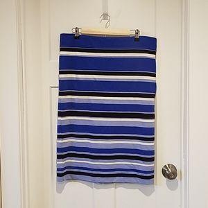 Ann Taylor Stretchy Striped Purple Pencil Skirt 14